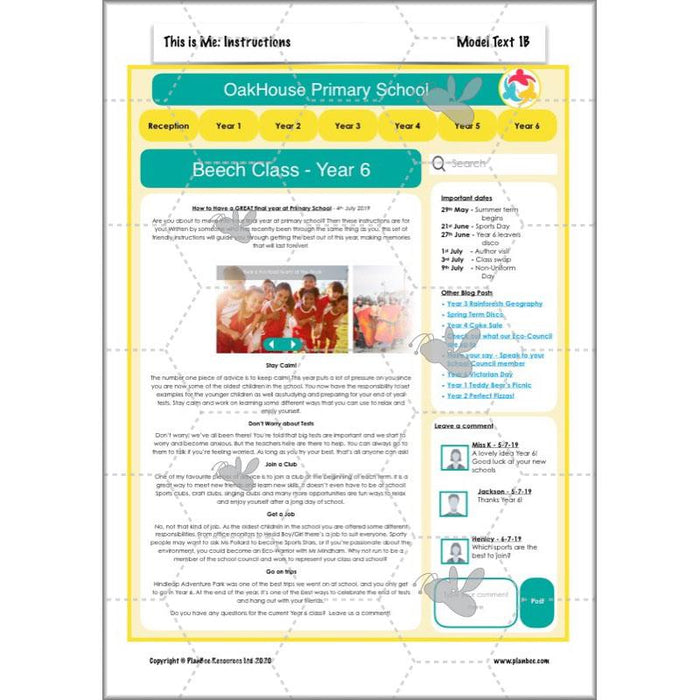 PlanBee Year 6 English Planning Pack | This is Me | 20 Complete Lessons