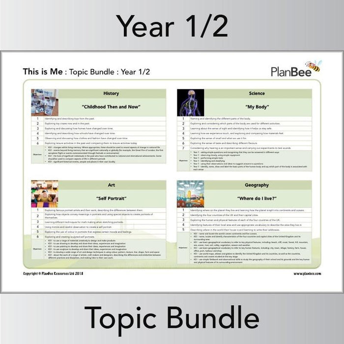 PlanBee This is Me Topic Bundle - Year 1 & Year 2 Lesson Plans & Resources