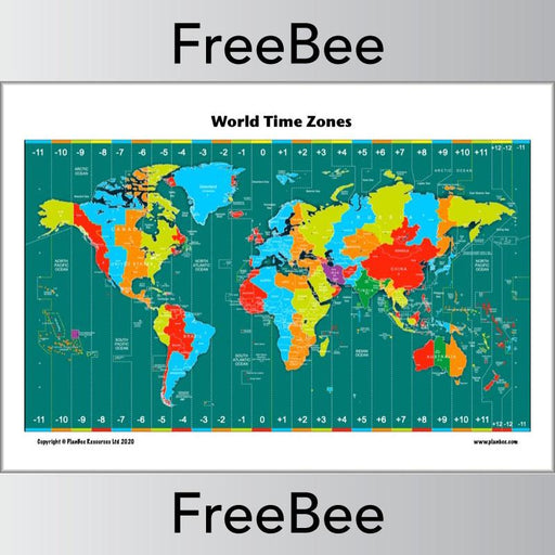 PlanBee FREE Time Zones KS2 Map for Primary Children