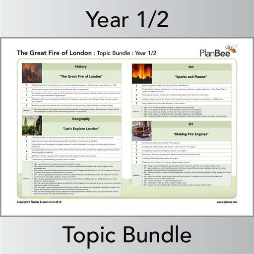 PlanBee Great Fire of London Topic KS1 | Cross-curricular PlanBee