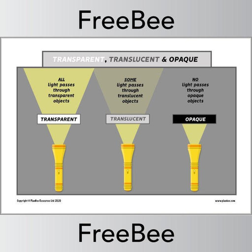 PlanBee Transparent, Translucent, Opaque Poster KS2
