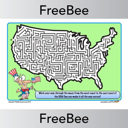 PlanBee FREE printable USA Maze | PlanBee FreeBees