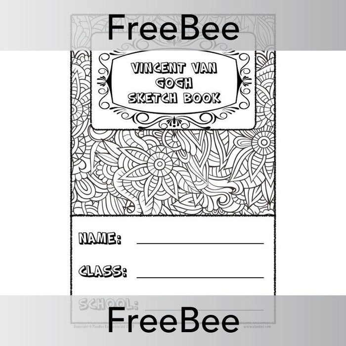 PlanBee Free Vincent van Gogh Sketch Book Cover by PlanBee