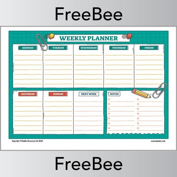 PlanBee Free downloadable Weekly Planner for Kids by PlanBee