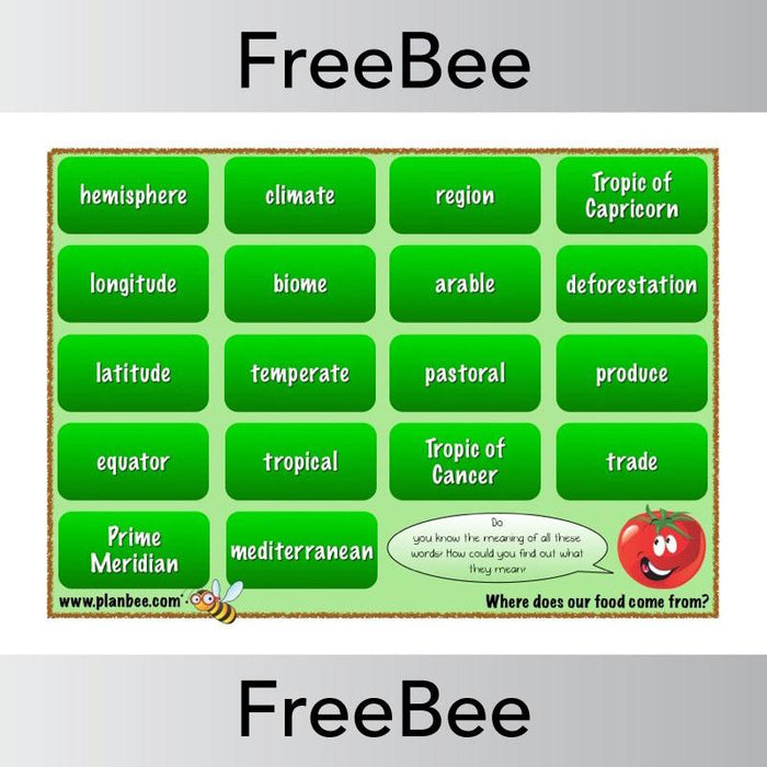 PlanBee Where does our food come from? Word Bank | PlanBee FreeBees