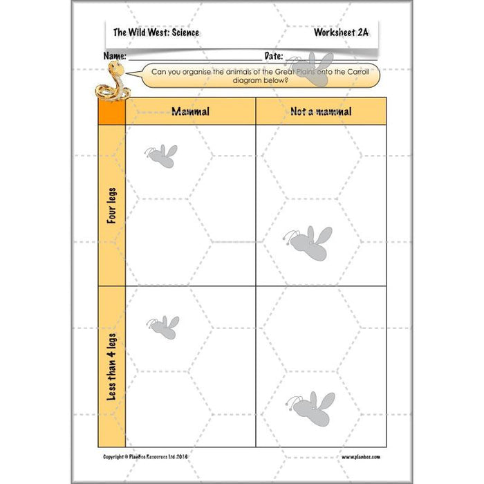 PlanBee Wild West Topic: Classifying Organisms - KS2 Science Lesson Resources