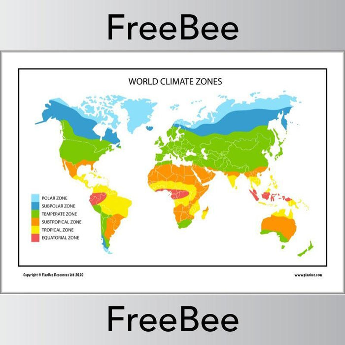 PlanBee Free downloadable World Climate Map for kids by PlanBee
