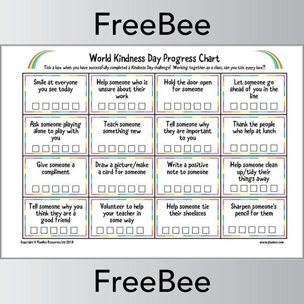 PlanBee FREE World Kindness Day Challenge Chart by PlanBee