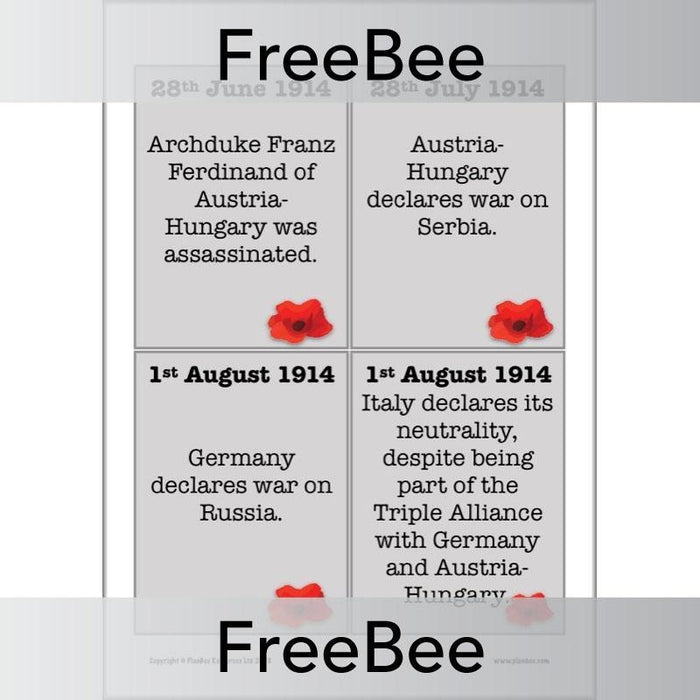 PlanBee World War I Timeline KS2 Free resource by PlanBee