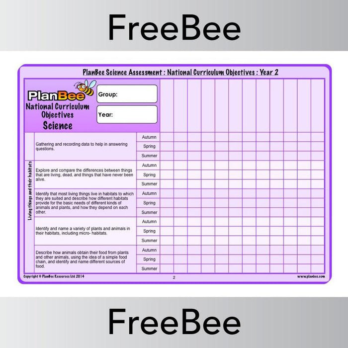 PlanBee Science Assesment Grid | PlanBee FreeBees