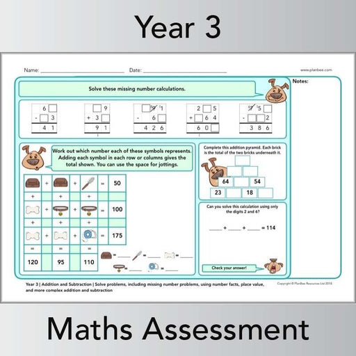 PlanBee Year 3 Maths Assessment Pack | New Curriculum