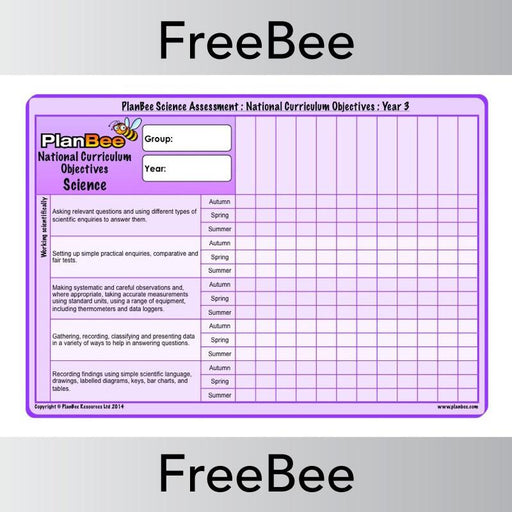 PlanBee Science KS2 Year 3 Assessment Grid | PlanBee FreeBees