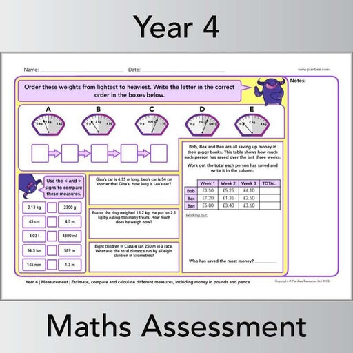 PlanBee Year 4 Maths Assessment Pack | New Curriculum