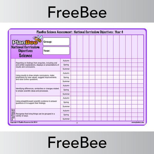 PlanBee Science Assessment Grid: Year 4 National Curriculum Objectives | PlanBee