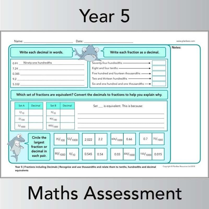 PlanBee Year 5 Maths Assessment Pack | New Curriculum
