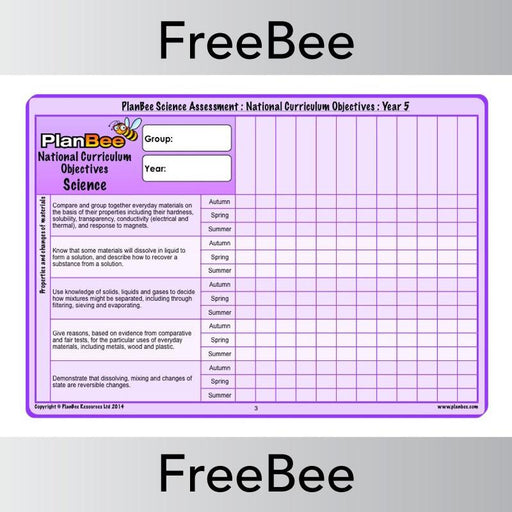 PlanBee Science Assessment Grid: Year 5 | PlanBee FreeBees