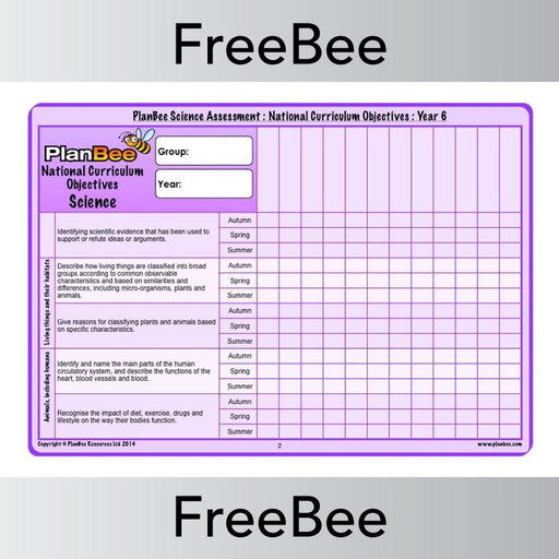 PlanBee Science Assessment Grid Year 6 | PlanBee FreeBees
