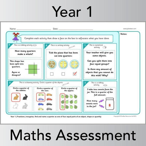 PlanBee Year 1 Maths Assessment Pack | Primary Maths Resources