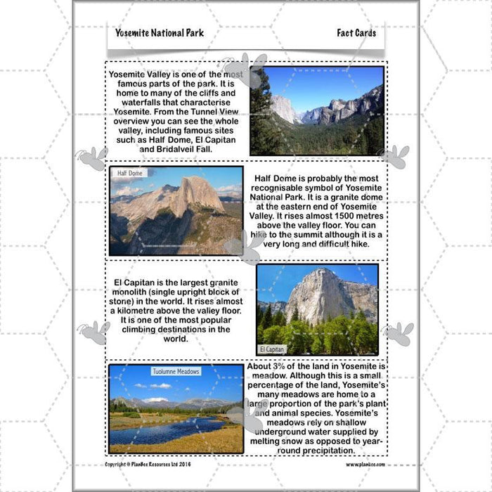 PlanBee Yosemite National Park: Year 5 & Year 6 Geography scheme of work