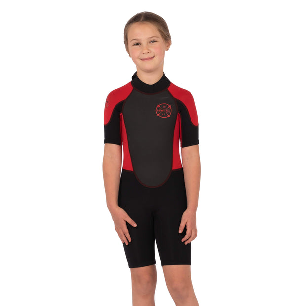 Child Shorty Wet Suit Neoprene Red / Black / 2 Level Six