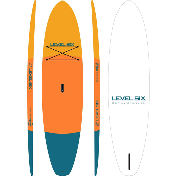 Eleven Three Softshell SUP Boards ORANGE TRI-COLOUR Level Six