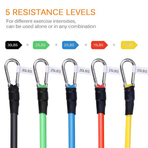 11pcs Fitness Pull Rope Resistance Bands Latex Strength Gym Equipment