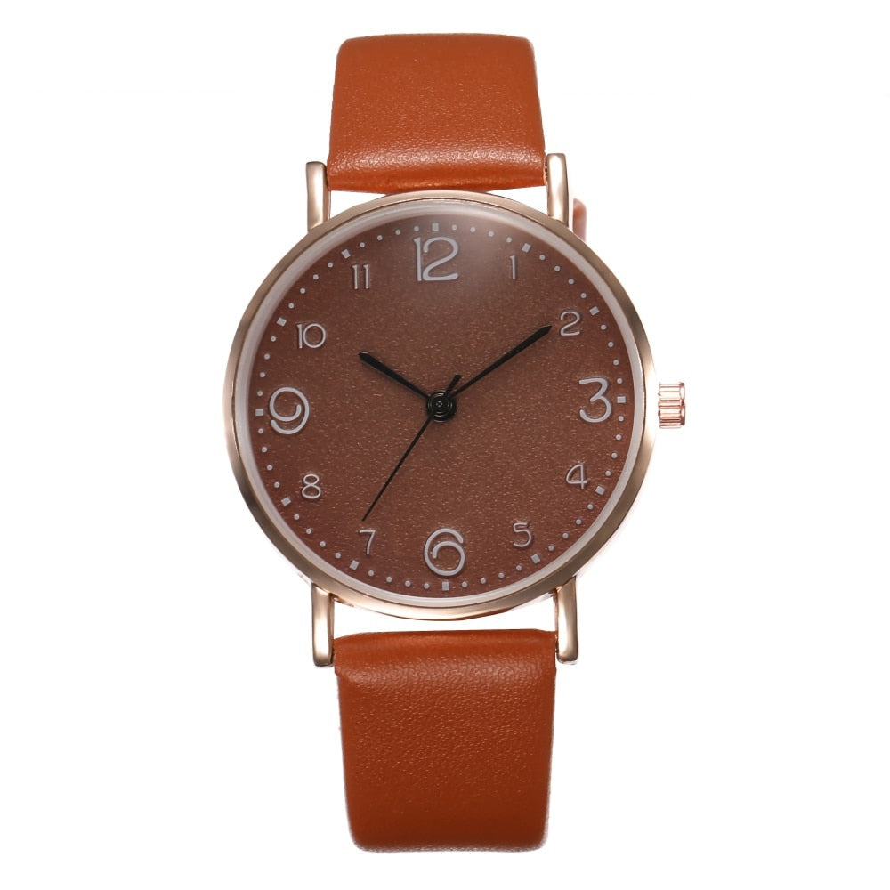 Top Style Fashion Women's Luxury Leather Band Quartz WristWatch