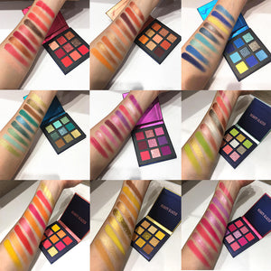 9 Color Yellow Beauty Glazed Makeup Eyeshadow Palette Makeup Brushes