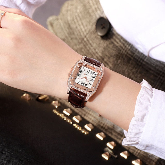 Women diamond Watch starry Luxury Bracelet Watches Casual Leather