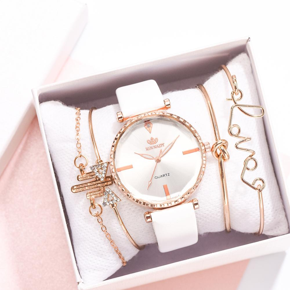 5pcs Set Top Style Fashion Women's Luxury Leather Band Analog Quartz