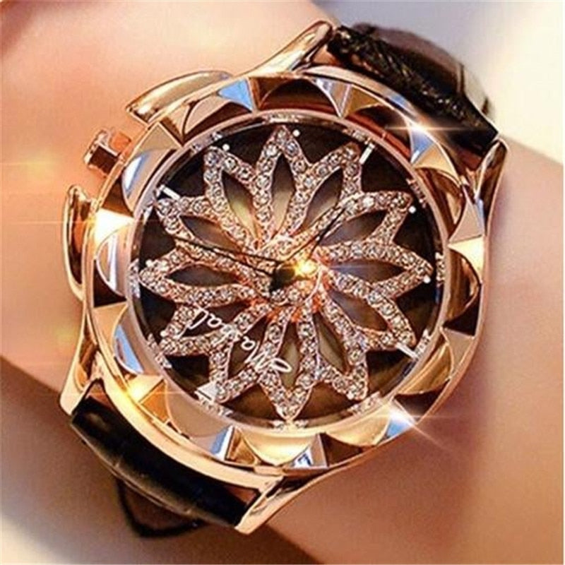 Watch Women Rhinestone Watches Ladies Watch Leather Band Big Dial