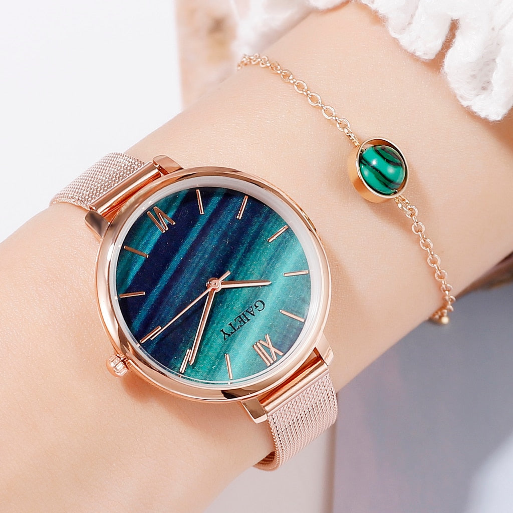 2 PCS Set Watch Women Rose Gold Water Drill Bracelet Watch Jewelry