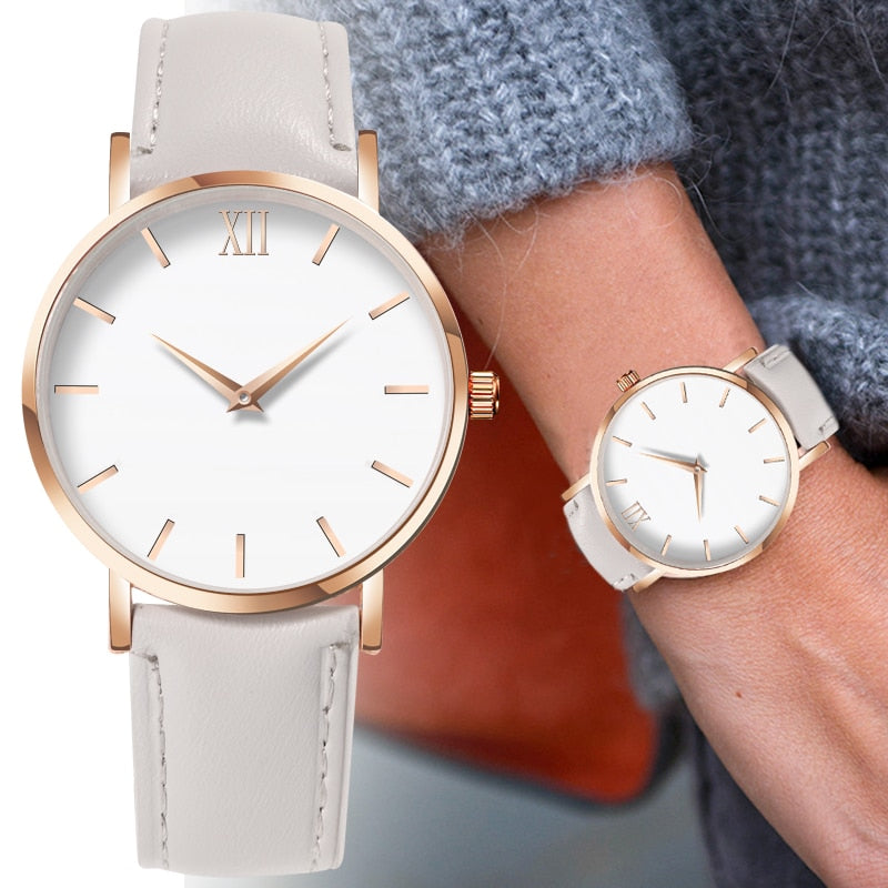 Fashion Simple Women Watches Ladies Casual Leather Quartz Watch Clock