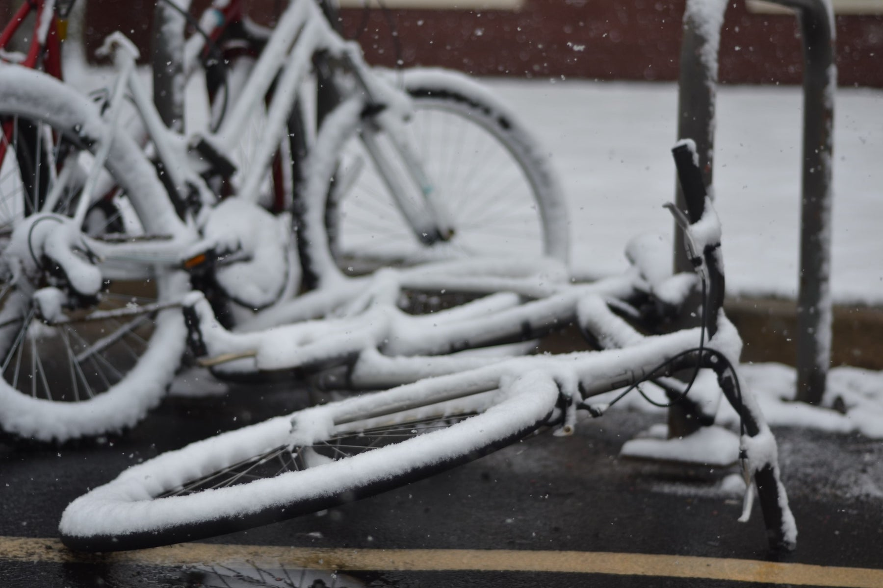 Photo of a bike in wintry conditions