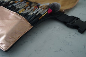 BRUSH BELT - Rose Gold & Black Leather (leather strap)