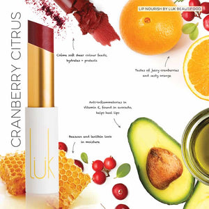 LUK BEAUTIFOOD - Lip Nourish Cranberry Citrus Natural Lipstick