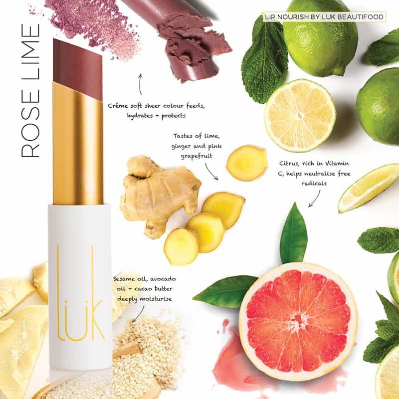 LUK BEAUTIFOOD - Lip Nourish Rose Lime Natural Lipstick