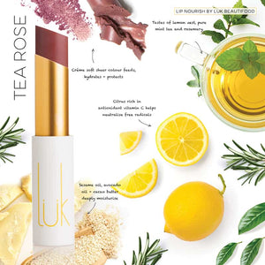 LUK BEAUTIFOOD - Lip Nourish Tea Rose Natural Lipstick