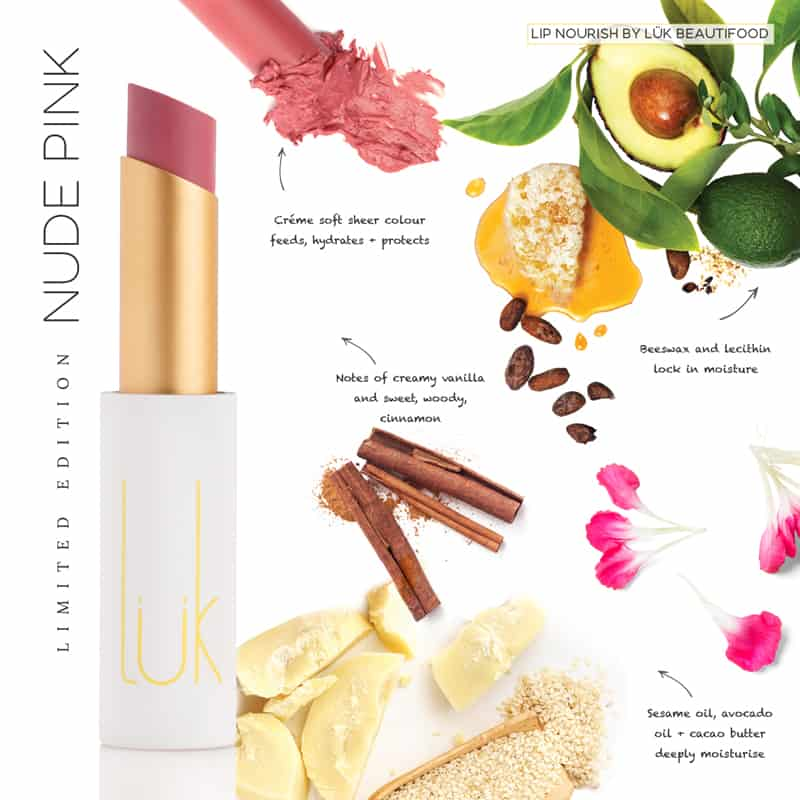 LUK BEAUTIFOOD - Lip Nourish Nude Pink Natural Lipstick