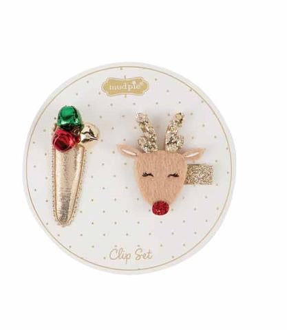 REINDEER AND JINGLE HAIR CLIPS - Molly's! A Chic and Unique Boutique