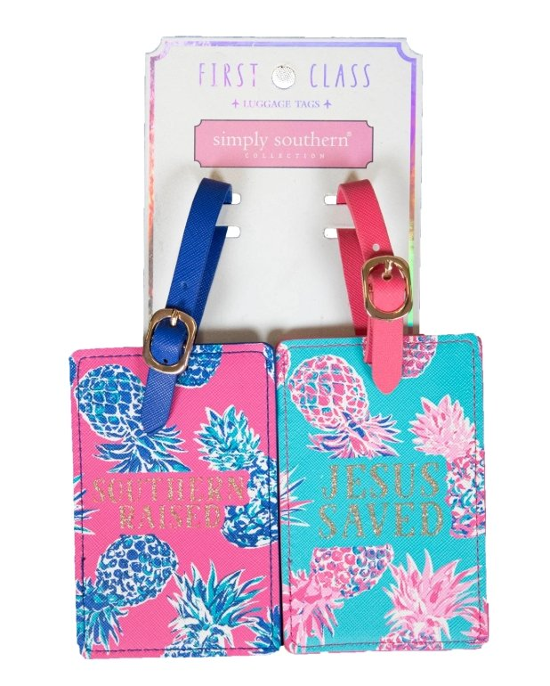 2-PACK LUGGAGE TAGS:  Jesus Saved - Molly's! A Chic and Unique Boutique