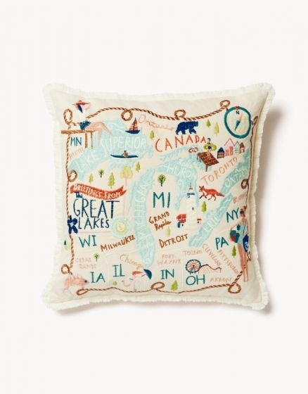GREAT LAKES EMBROIDERED PILLOW - Molly's! A Chic and Unique Boutique