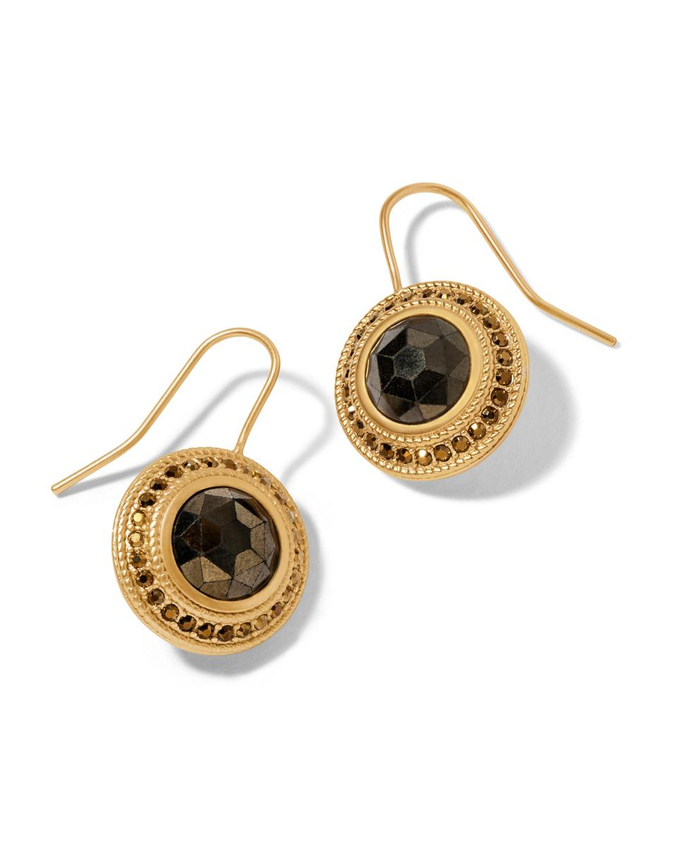 MEDALLION EARRINGS PYRITE - Molly's! A Chic and Unique Boutique