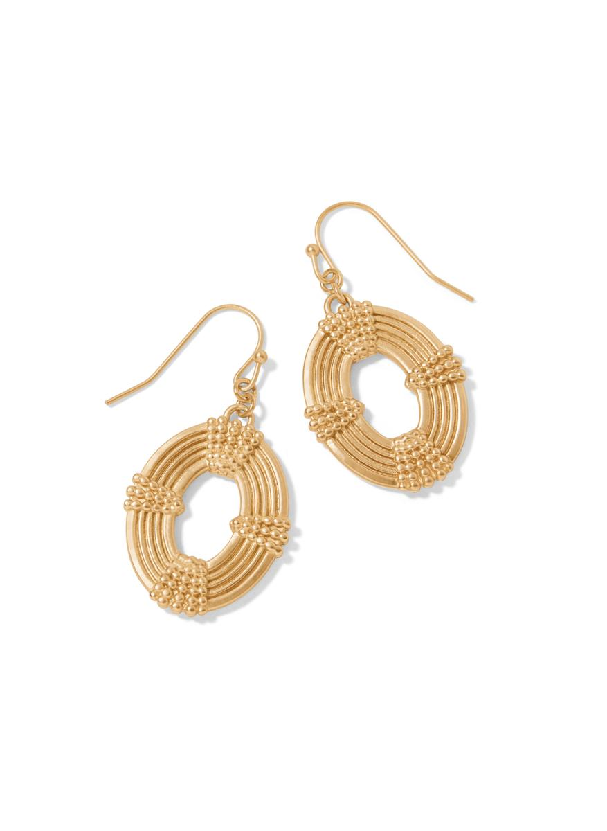 OVAL MEDALLION EARRINGS GOLD - Molly's! A Chic and Unique Boutique