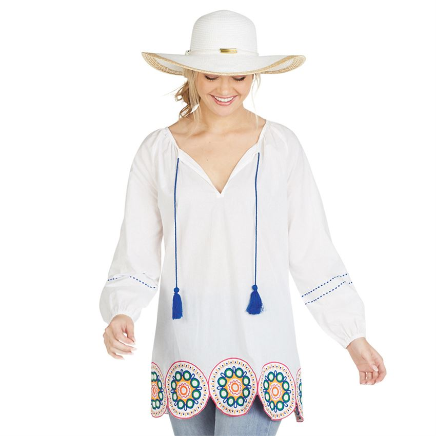 MONACO EMBROIDERED TUNIC WH - Molly's! A Chic and Unique Boutique