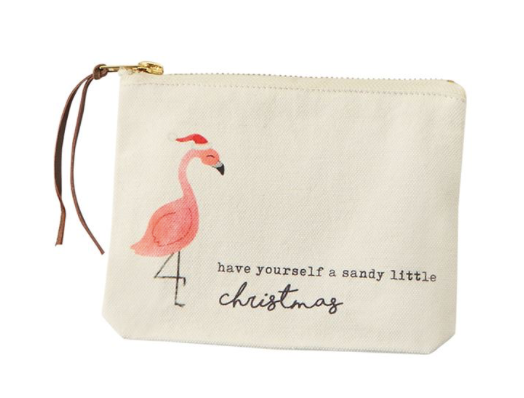 Flamingo Christmas Canvas Pouch - Molly's! A Chic and Unique Boutique