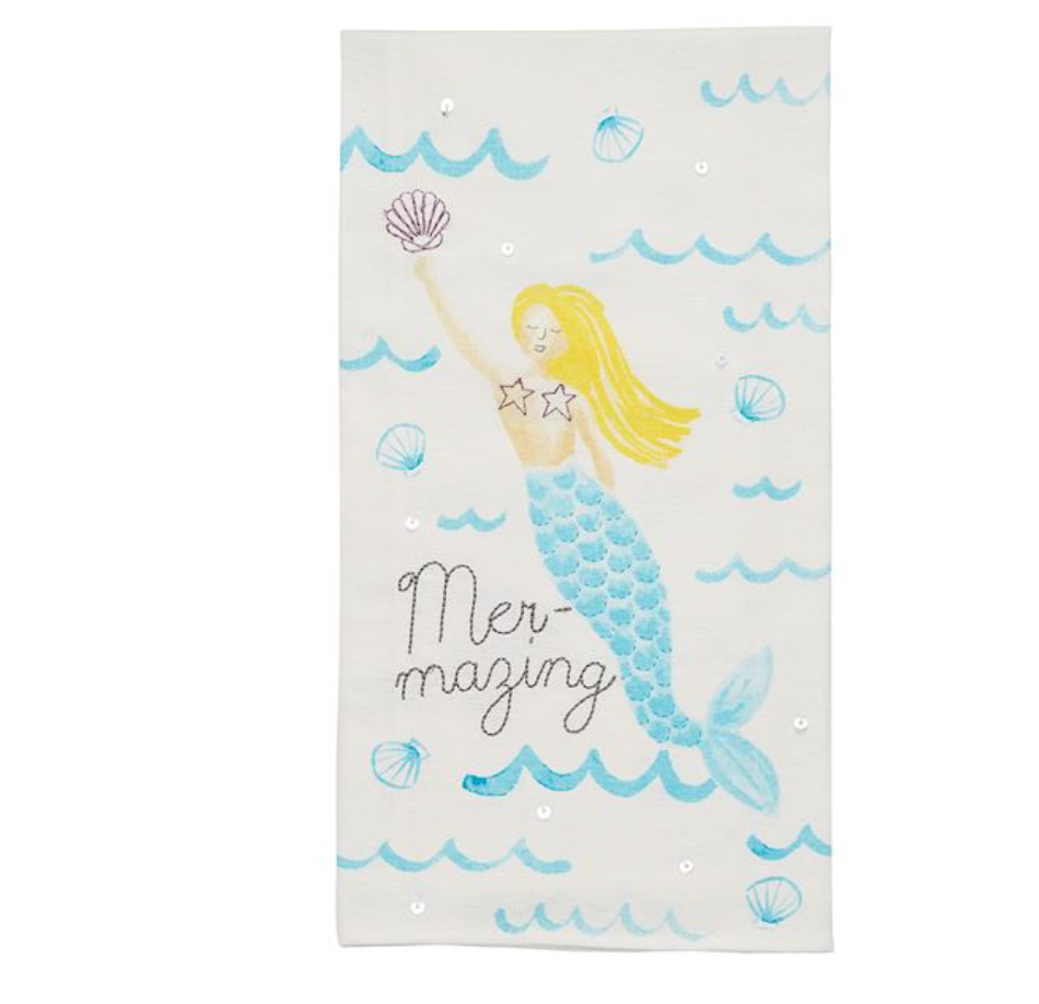 MER-MAZING EMBROIDERED SEQUIN HAND TOWEL - Molly's! A Chic and Unique Boutique