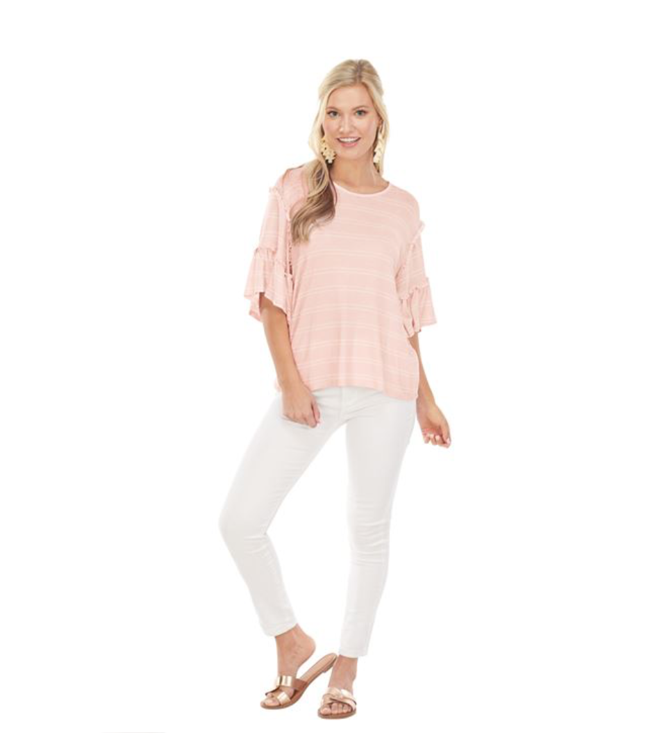 Pink/White Stripe Kae Ruffle Sleeve Top - Molly's! A Chic and Unique Boutique