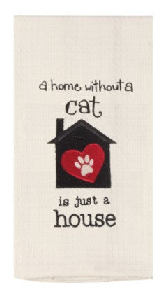 Cat House Embr. Waffle Towel - Molly's! A Chic and Unique Boutique