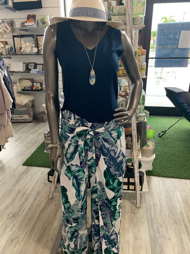 BANANA LEAF TIE-FRONT PANT - VM2418-BAN - Molly's! A Chic and Unique Boutique